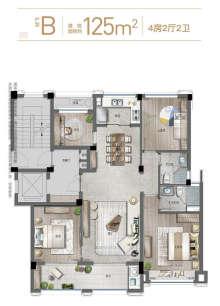 B户型125方4房2厅