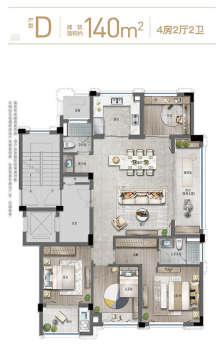 D户型140方4房2厅
