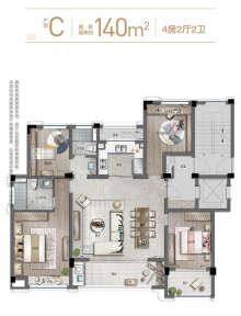 C户型140方4房2厅
